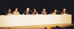 """Colloque du Réseau agriculture durable en 1998 à Rennes, sur  """"Eau et agriculture durable"""", en présence du Ministre de l'Agriculture."""